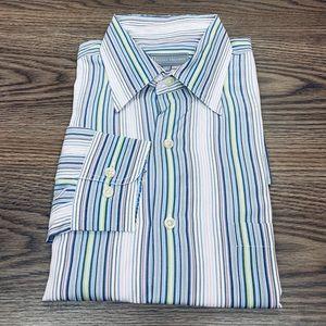 Hickey Freeman White Blue & Green Stripe Shirt XL